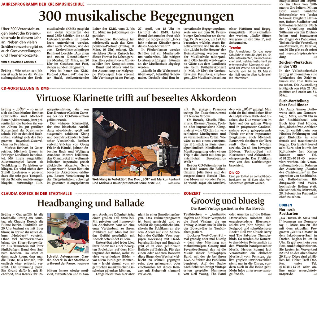 Presseartikel BÖF -Kultur im Landkreis