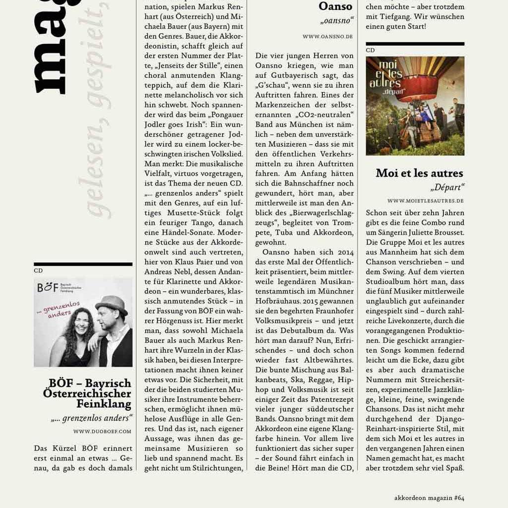 Bericht im Akkordeon Magazin über Duo Böf